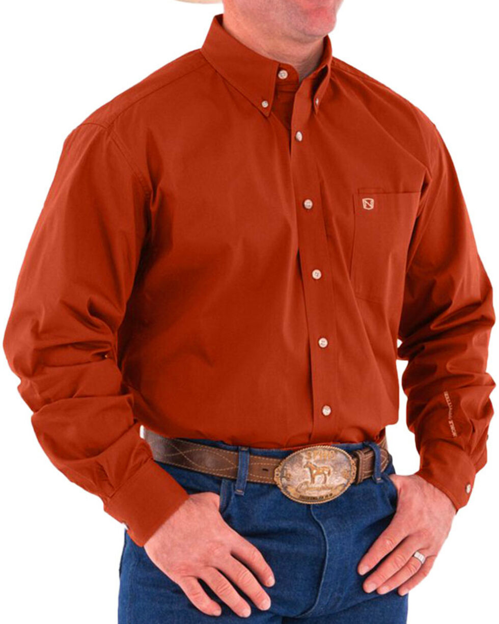 Noble Outfitters Men's Solid Long Sleeve Shirt, Orange, hi-res