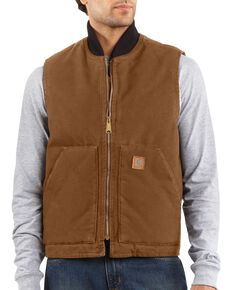 Carhartt Men's Sandstone Arctic Quilt Lined Vest, Brown, hi-res