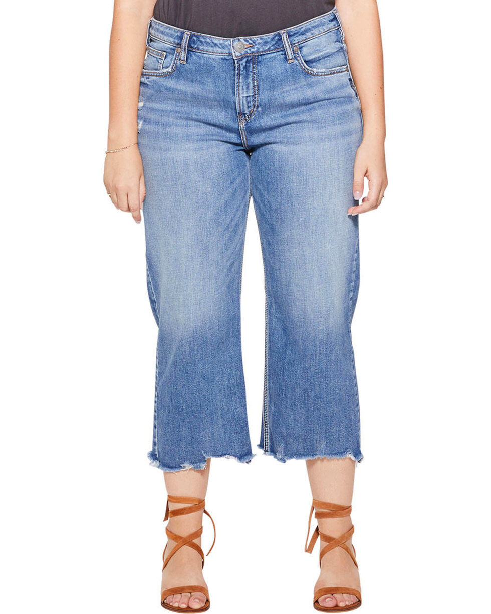 Silver Women's Wide Leg Crop Jeans - Plus, Indigo, hi-res