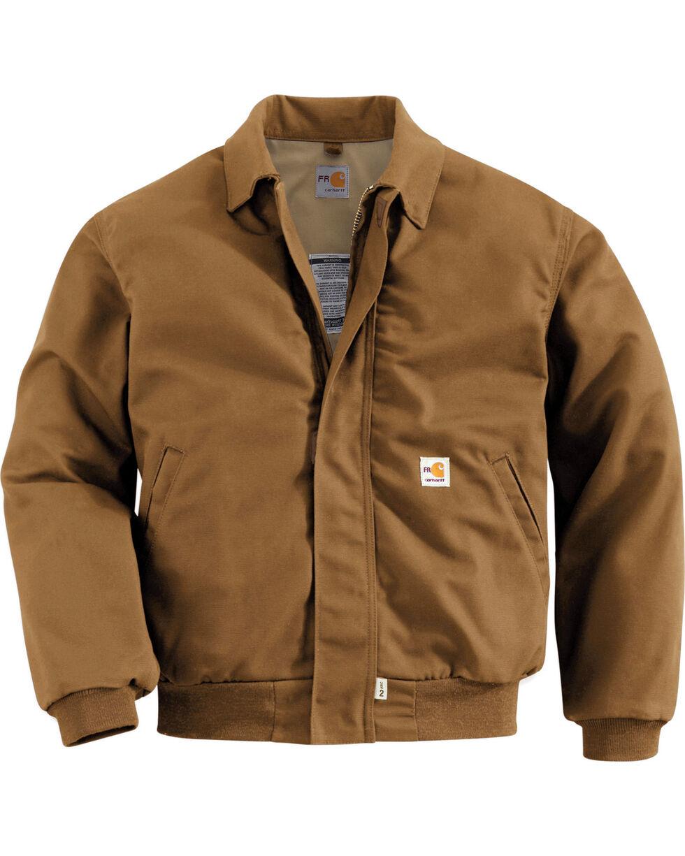Carhartt Men's Flame Resistant All-Season Bomber Jacket, Brown, hi-res