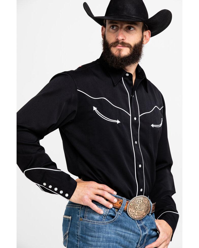 Roper Men's Americana Collection Embroidered Skull Long Sleeve Western Shirt, Black, hi-res