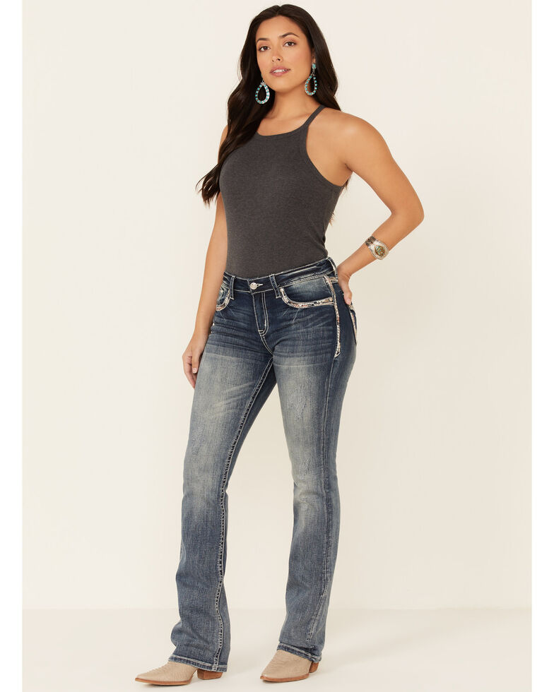 Grace in LA Women's Faded Easy Bootcut Jeans, Blue, hi-res