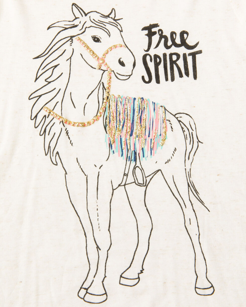 Shyanne Girls' Free Spirit Horse Print Long Sleeve Shirt  , Oatmeal, hi-res
