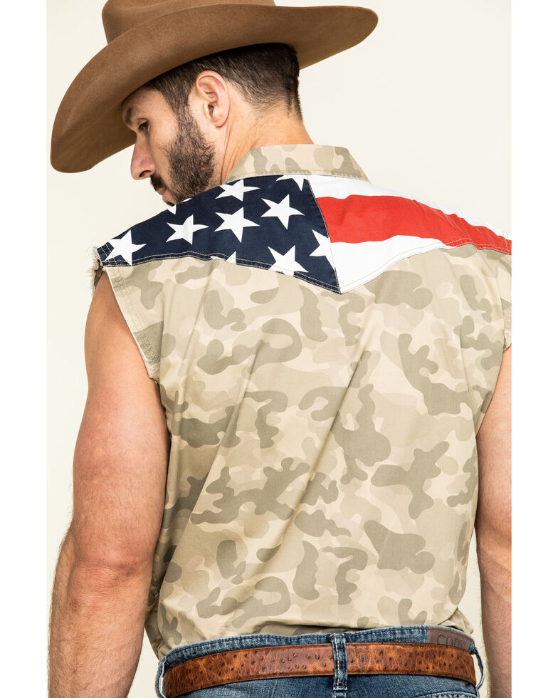 Cody James Men's Camo Bubba Sleeveless Western Shirt , Camouflage, hi-res