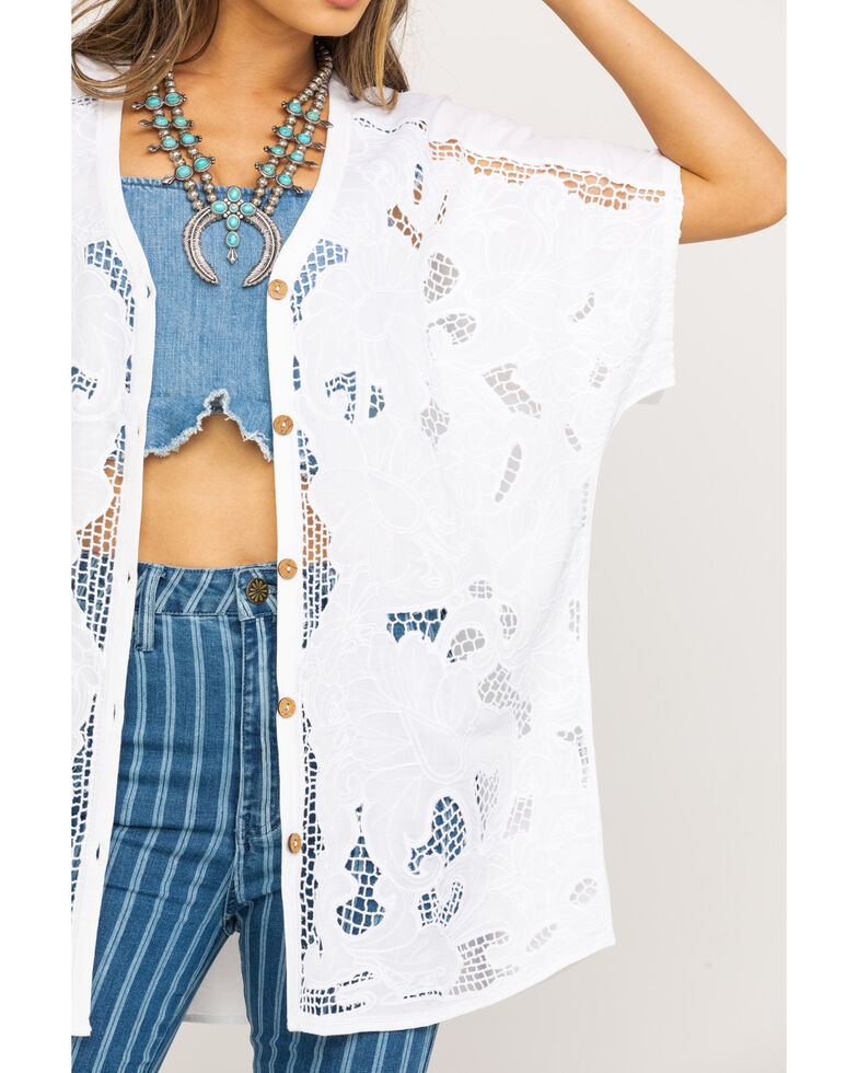 Show Me Your Mumu Women's Tully Lace Embroidered Tunic, White, hi-res