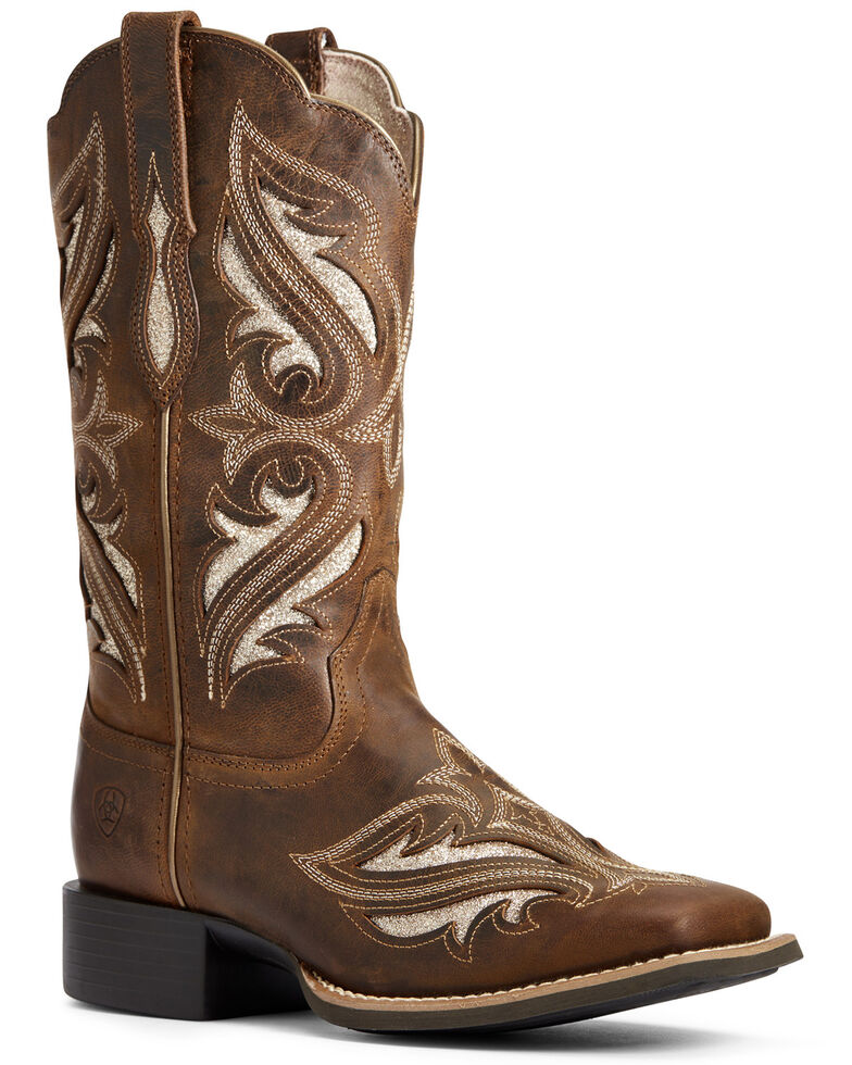 Ariat Women's Round Up Bliss Western Boots - Wide Square Toe, Beige/khaki, hi-res