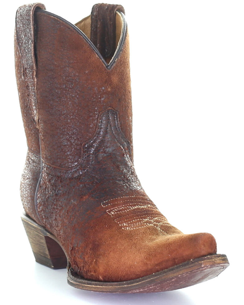 Corral Girls' Brown Ankle Western Boots - Round Toe, Brown, hi-res