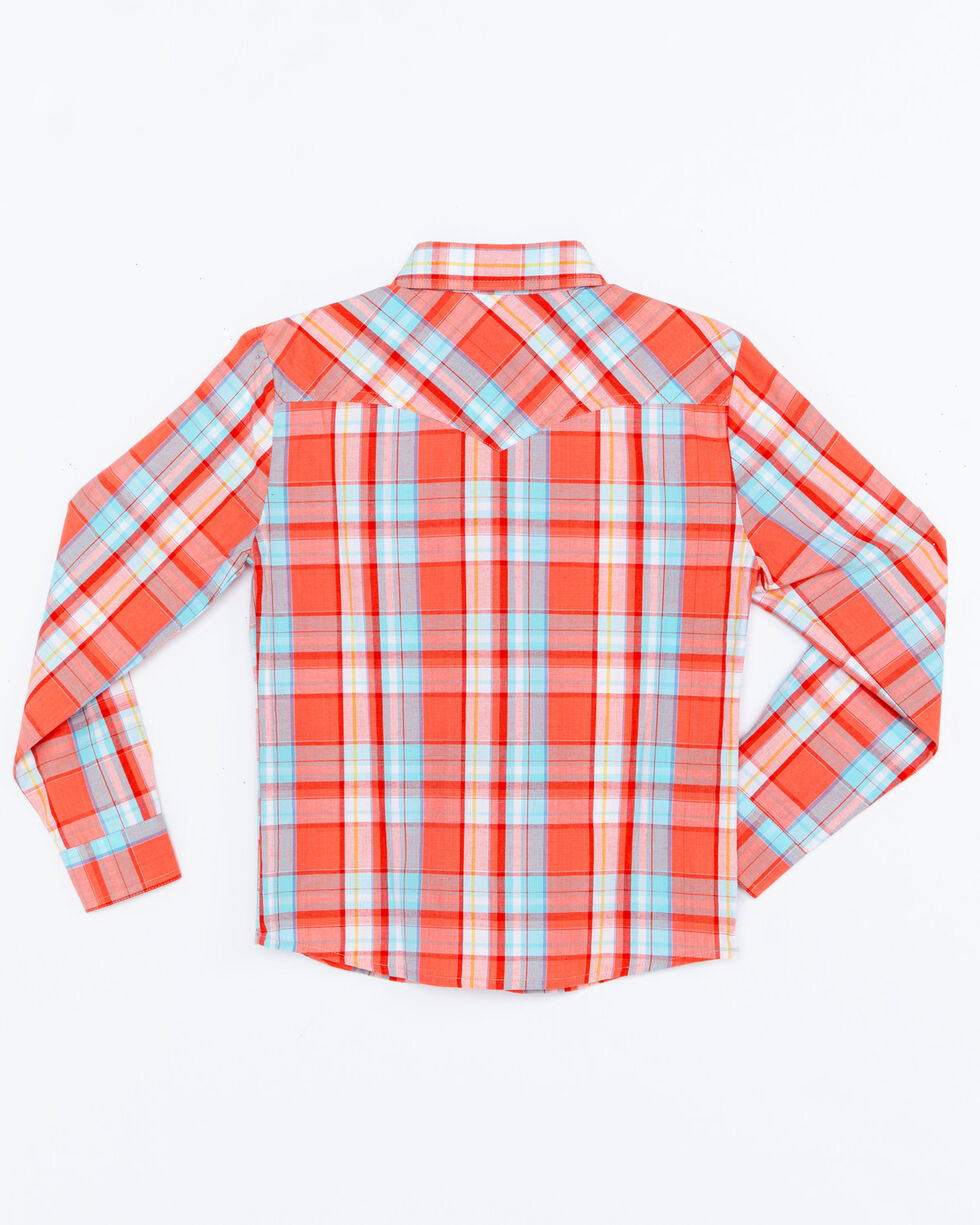 Panhandle Girls' Plaid Snap Long Sleeve Western Shirt , Multi, hi-res