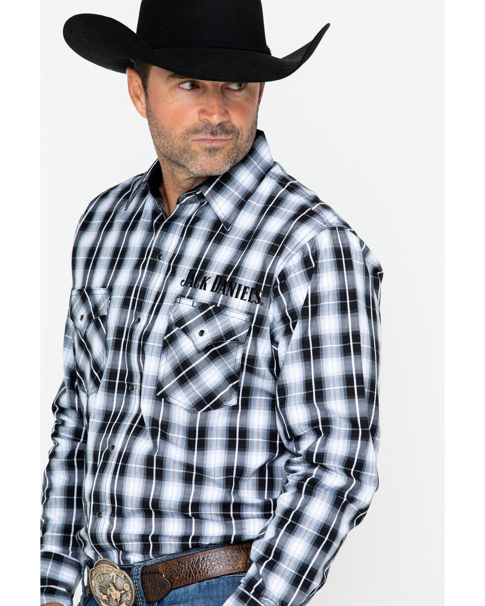 Jack Daniels Men's Textured Plaid Long Sleeve Shirt, Black/white, hi-res