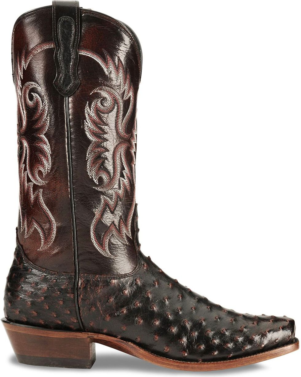 Nocona Men's Full Quill Ostrich Western Boots, Black Cherry, hi-res