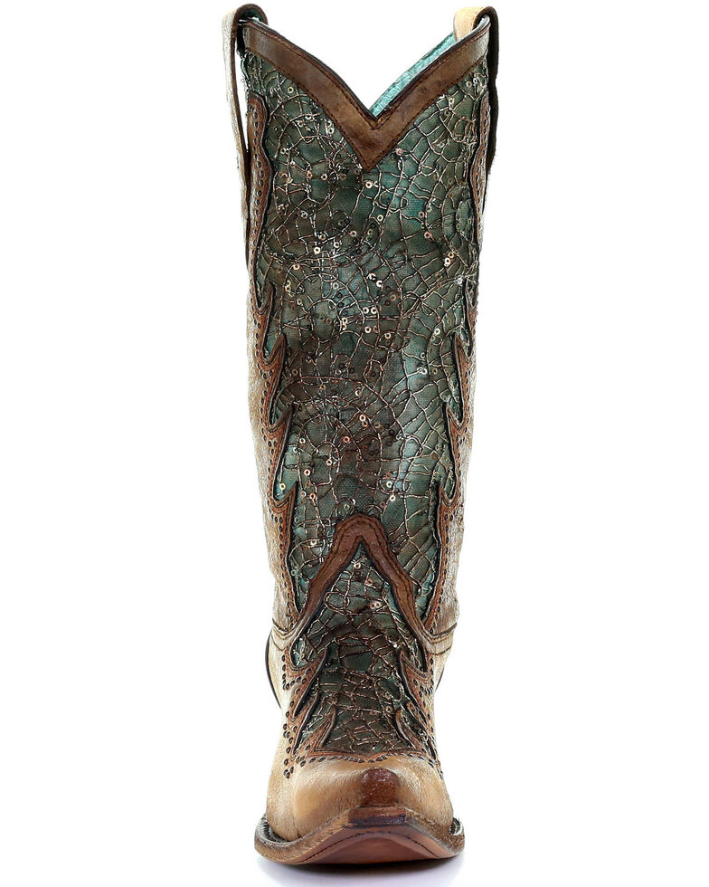 Corral Women's Sky Blue Embroidery Western Boots - Snip Toe, Brown, hi-res