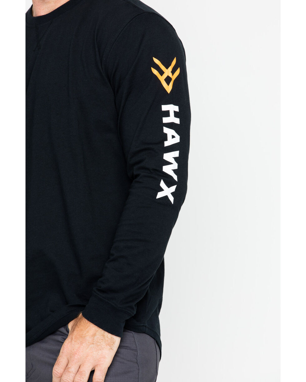 Hawx Men's Logo Long Sleeve Crew Work Tee , Black, hi-res