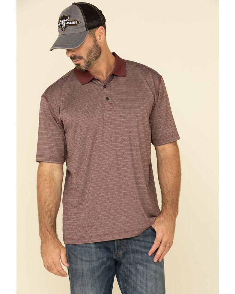 Cody James Core Men's Burgundy Tonal Striped Short Sleeve Polo Shirt , Burgundy, hi-res