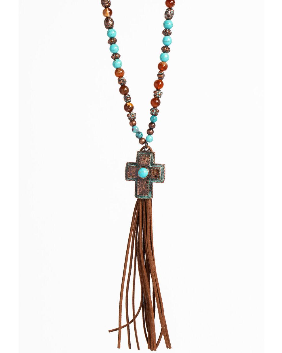 Shyanne Women's La Rosita Beaded Cross Necklace with Tassel , Turquoise, hi-res