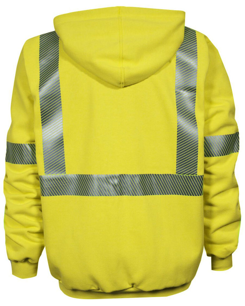 National Safety Apparel Men's FR Vizable Hi-Vis Zip Front Work Sweatshirt - Tall , Bright Yellow, hi-res