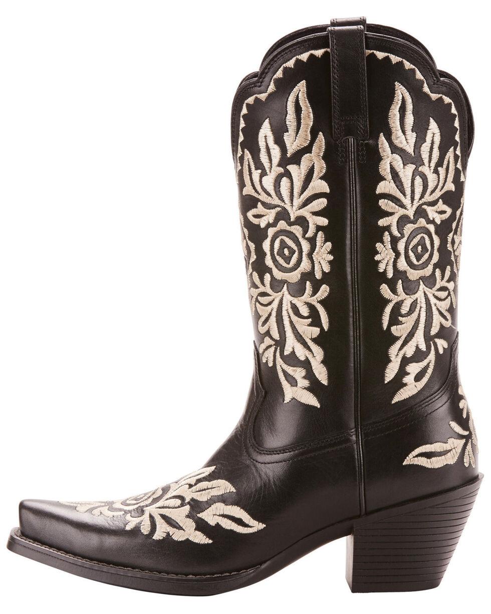 Ariat Women's Black Harper Floral Boots - Snip Toe , Black, hi-res
