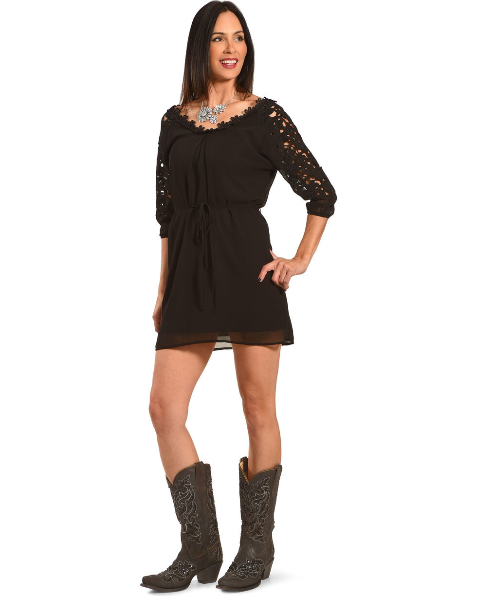 Young Essence Women's Lace Trim Dress , Black, hi-res