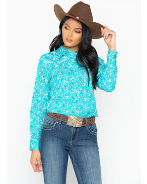 Cowgirl Hardware Women's Aqua Country Floral Western Shirt, Aqua, hi-res