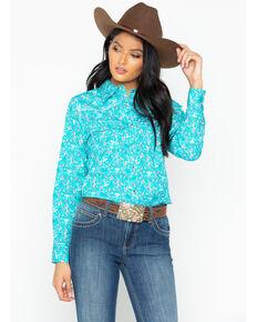 Cowgirl Hardware Women's Aqua Country Floral Western Shirt, Aqua, hi-res