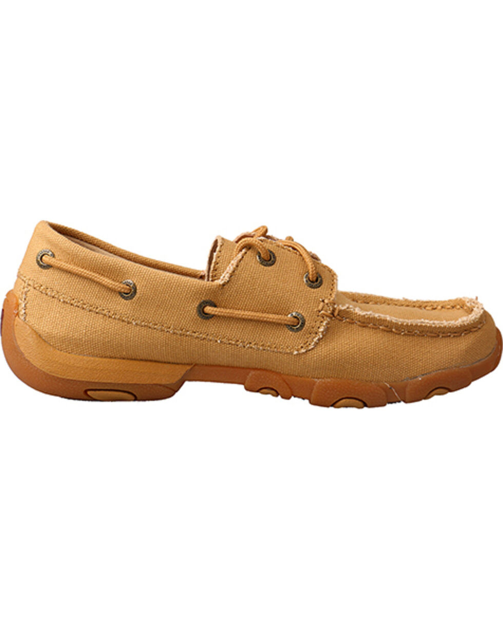 Twisted X Women's Canvas Driving Moccasins, Tan, hi-res