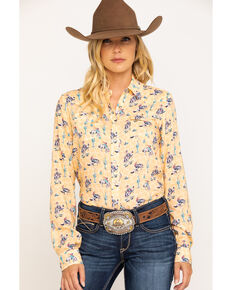 Five Star Women's Yellow Bronco Print Long Sleeve Western Shirt, Yellow, hi-res
