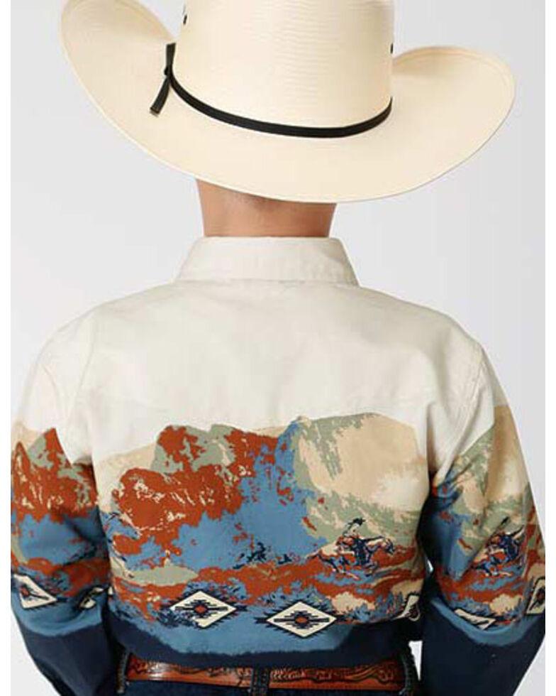 West Made Boys' Riding Border Print Long Sleeve Western Shirt , Blue, hi-res
