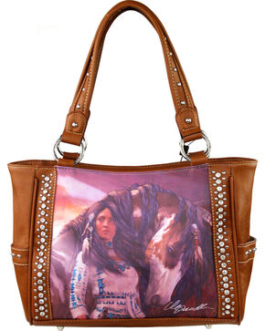 Montana West Horse Art Concealed Handgun Handbag-Laurie Prindle, Brown, hi-res
