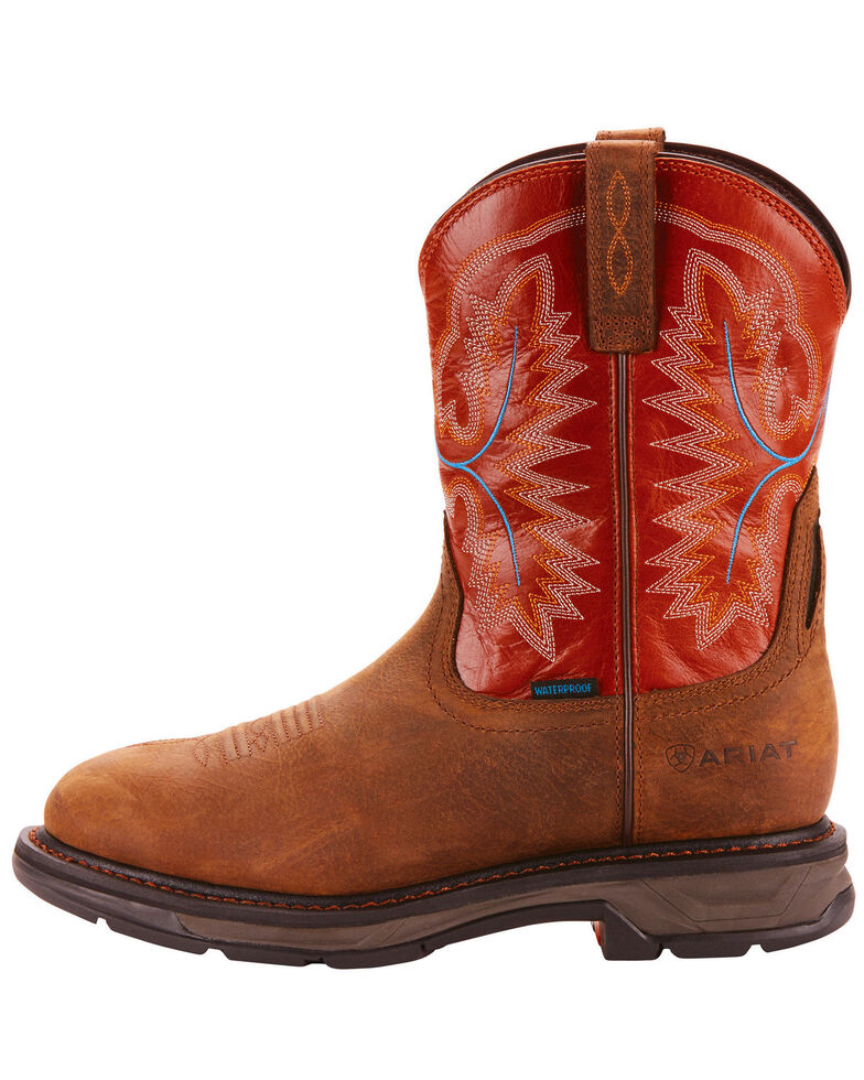 Ariat Men's Tan Workhog XT Pull-On H20 Boots - Round Toe , Tan, hi-res