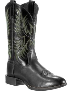 Ariat Men's Heritage Stockman Round Toe Western Boots, Black, hi-res
