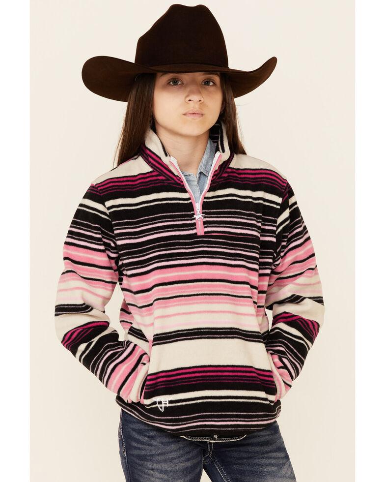 Cowgirl Hardware Girls' Pink Serape Stripe 1/4 Zip Fleece Pullover , Pink, hi-res
