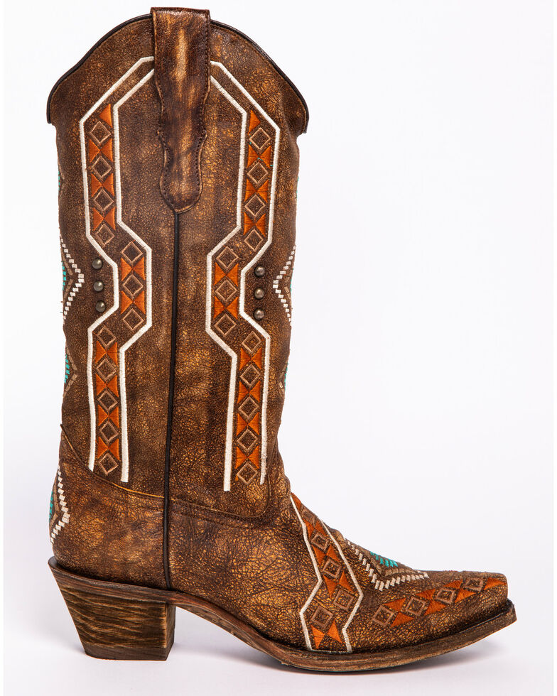 1712983dc61 Corral Women's Aztec Embroidered Cowgirl Boots - Snip Toe