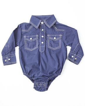 Crazy Cowboy Infant Boys' Geo Print Long Sleeve Western Onesie, Blue, hi-res