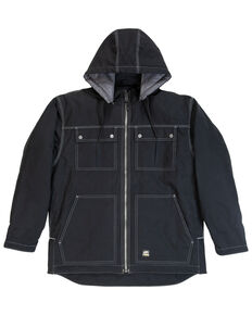 Berne Men's Modern Zip Off Hooded Work Chore Coat - Tall , Black, hi-res
