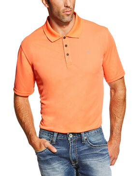 Ariat Men's Classic Short Sleeve Polo, Orange, hi-res