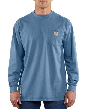 Carhartt Long Sleeve Pocket Fire Resistant Work Shirt, Med Blue, hi-res