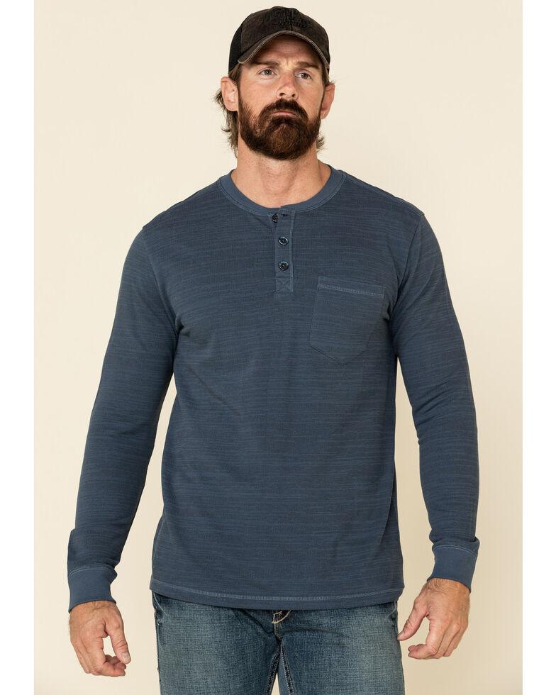 Moonshine Spirit Men's Blue Woodbourne Henley Button Long Sleeve Shirt , Blue, hi-res
