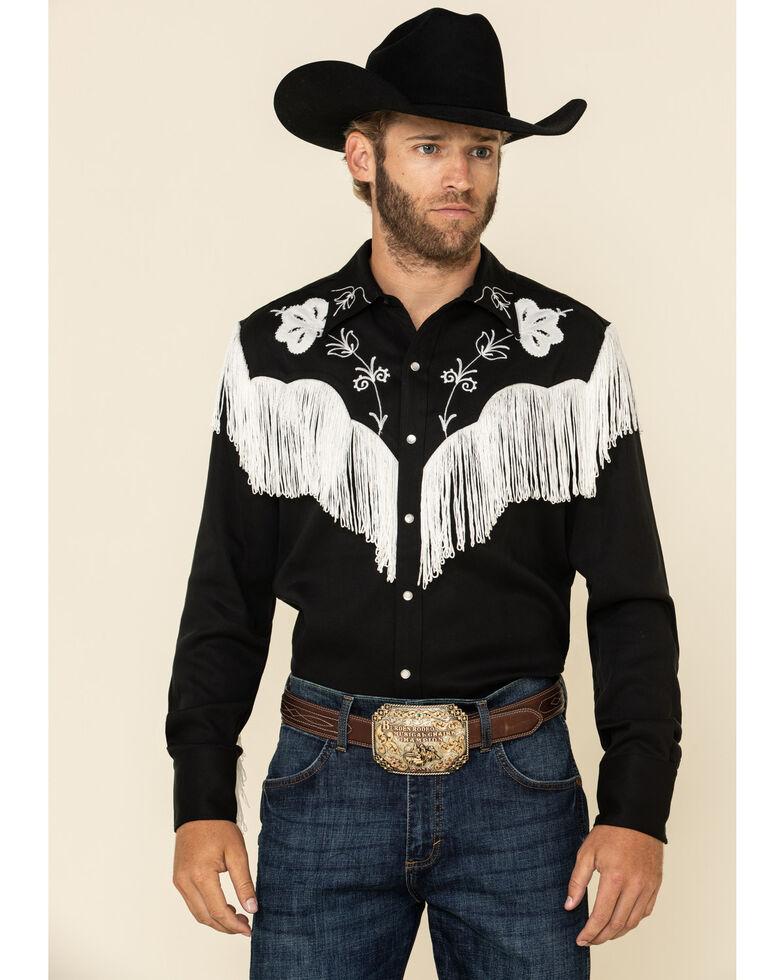 Hbarc Ranchwear Men's Black Taos Long Sleeve Western Shirt , Black, hi-res