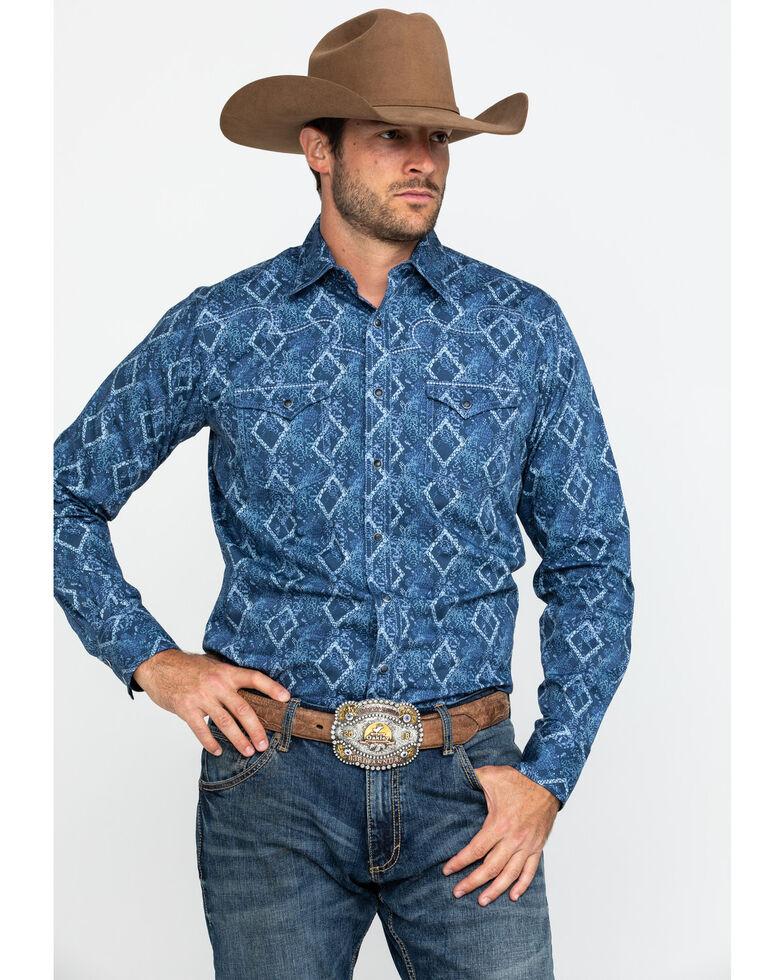 Rock 47 By Wrangler Men's Indigo Denim Floral Print Long Sleeve Western Shirt , Blue, hi-res