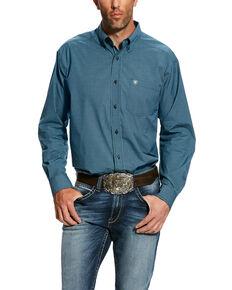 Ariat Men's Hallaway Plaid Long Sleeve Western Shirt , Blue, hi-res