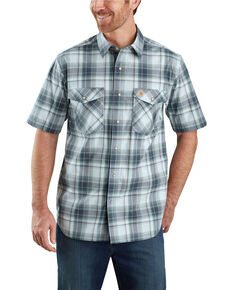 Carhartt Men's Blue Rugged Flex Bozeman Plaid Short Sleeve Work Shirt - Big , Beige/khaki, hi-res