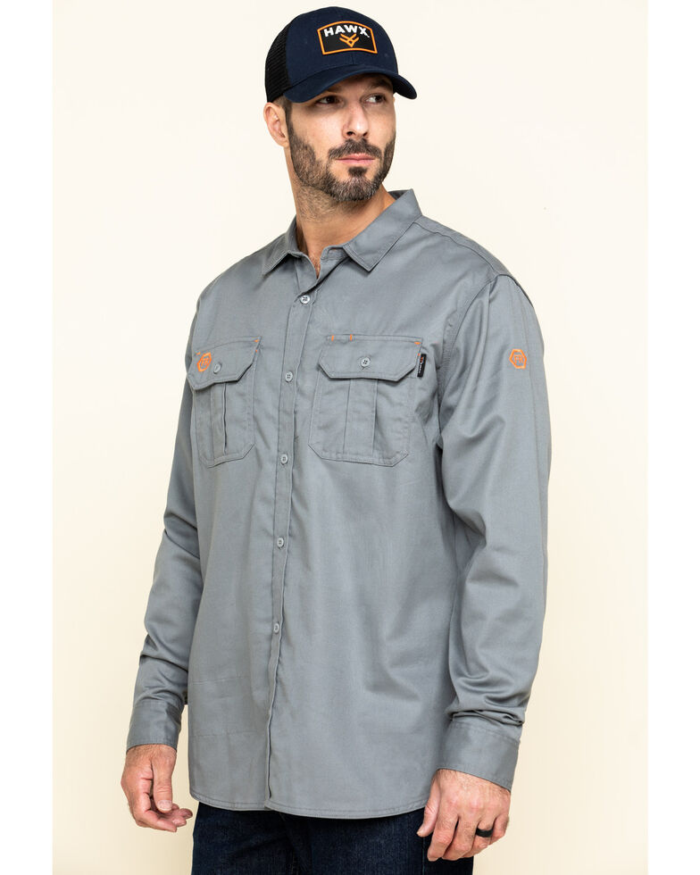 Hawx Men's Grey FR Long Sleeve Woven Work Shirt , Silver, hi-res