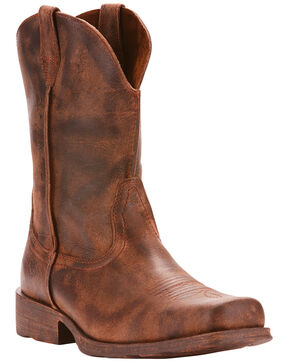 Ariat Men's Rambler Antiqued Cowboy Boots - Square Toe, Brown, hi-res