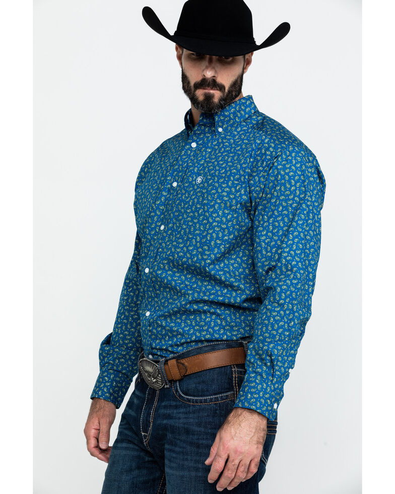 Ariat Men's Balter Paisley Print Long Sleeve Western Shirt , Blue, hi-res
