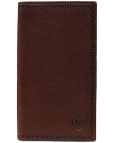 Ariat Men's Rodeo Bi-Fold Leather Checkbook Cover Wallet, Copper, hi-res