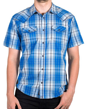 Moonshine Spirit® Men's Plaid Short Sleeve Shirt, White, hi-res