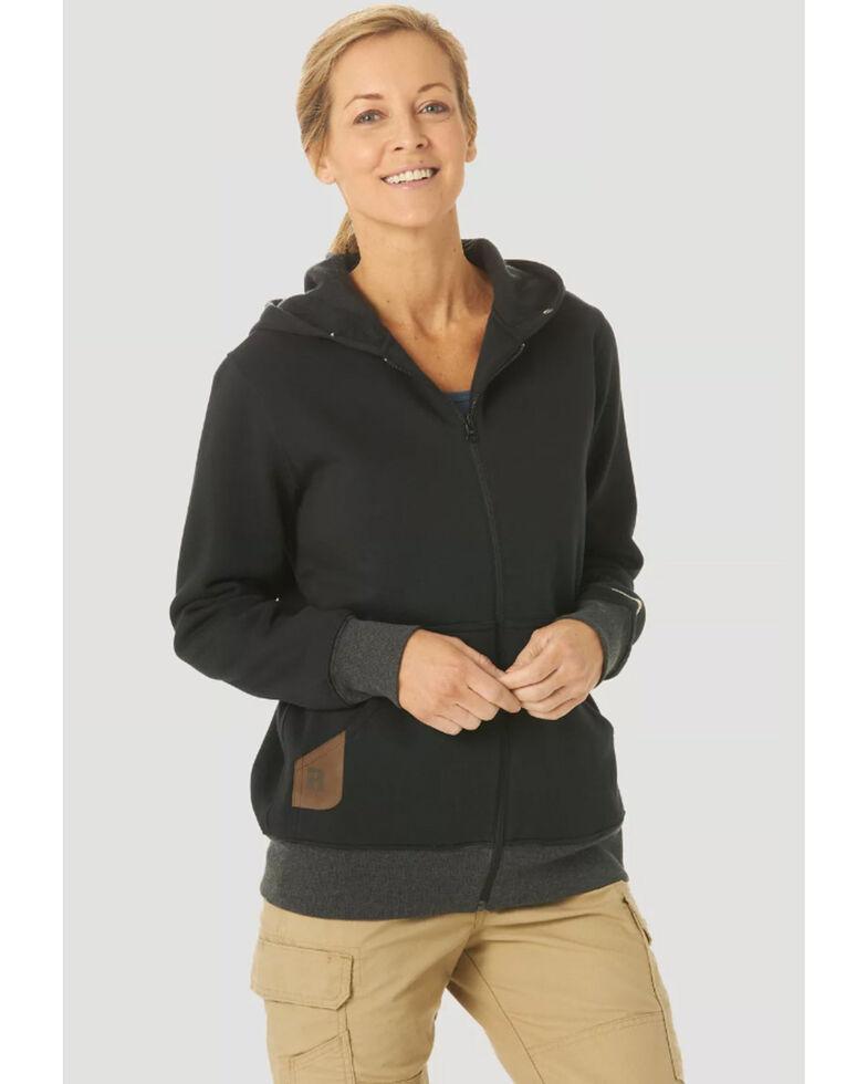Wrangler Riggs Women's Solid Black Hooded Zip-Front Work Sweatshirt , Black, hi-res