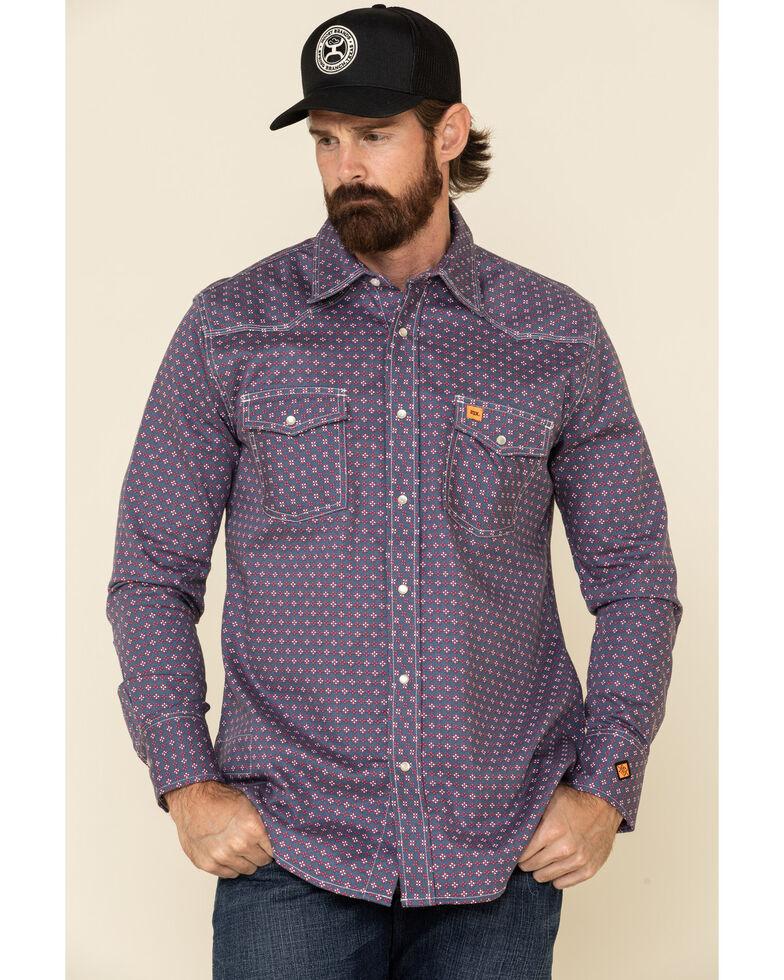 Wrangler 20X FR Men's Dark Blue Small Geo Print Long Sleeve Work Shirt - Big , Dark Blue, hi-res