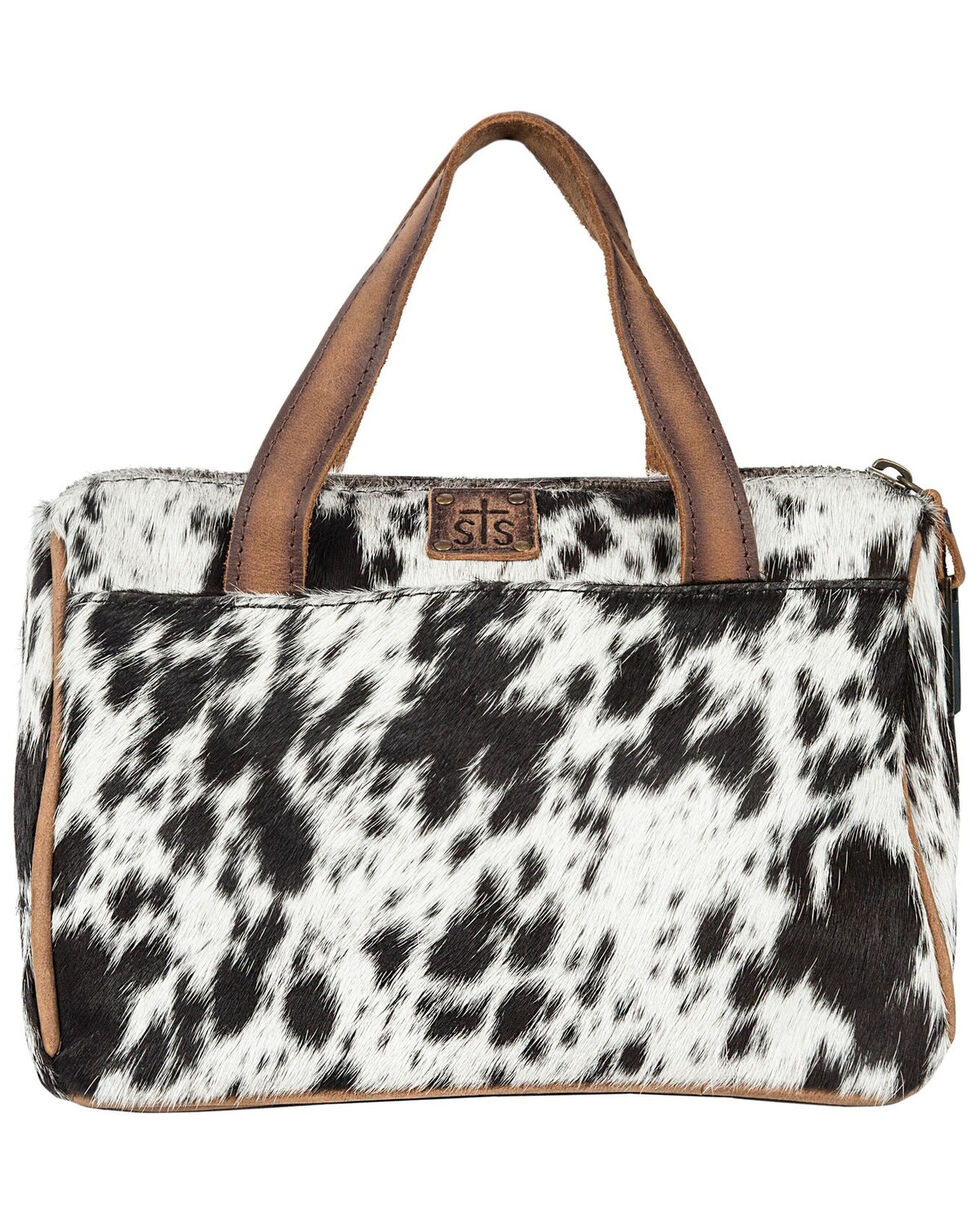 STS Ranchwear Women's Cowhide Makeup Bag, Brown, hi-res