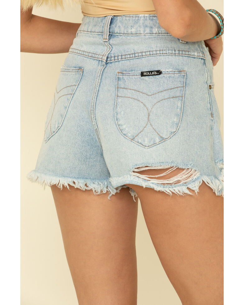 Rolla's Women's Distressed Light Wash Duster Shorts, Blue, hi-res
