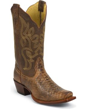 Nocona Snake Print Cowgirl Boots - Snip Toe, Brown, hi-res
